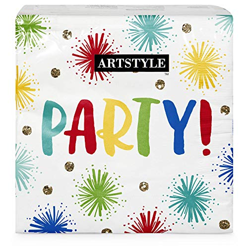 Artstyle 120 Count Disposable Lunch Napkins - Colorful & Sturdy Napkins for Everyday Occasions (Sparkle Party)