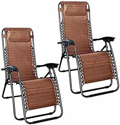 Zero Gravity Folding Recliner Lounge Chair (Set of 2) - Brown