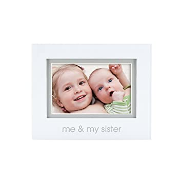 Amazon.com: Pearhead Me and My Sister Photo Frame, White: Baby