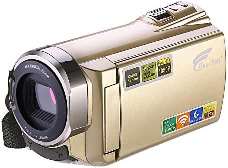 Camcorder,Hausbell HDV-5052 HDMI 1920x1080p Wifi FHD Digital Video Camera Infrared Night Vision 30FTPS Camcorder with Touchscreen,16 X Digital Active Zoom (Golden)