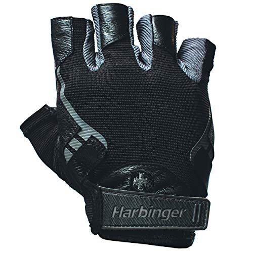 Harbinger 114330 Pro Non-WristWrap Vented Cushioned Leather Palm Weightlifting Gloves