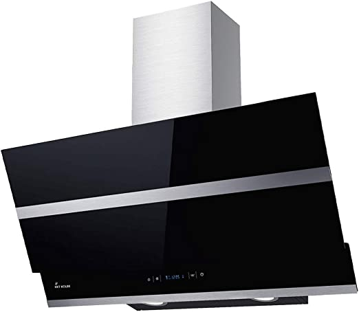 Campana extractora de pared (80 cm, acero inoxidable, cristal negro, extra silenciosa, 4 escalones, iluminación LED, teclas de sensor TouchSelect) HERMES806S - KKT KOLBE: Amazon.es: Hogar