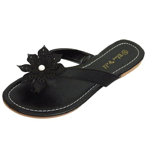 Damen Taupe Zehensteg Blume Bequem Sandalen Flip Flop Schuhe Holiday Turnschuhe UK 3-8 - Taupe, 3 UK/36 EU