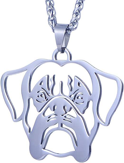 Silver Stainless Steel bulldog Bullmastiff Pendant dog Chain Necklace