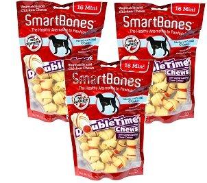 (3 Pack) SmartBones DoubleTime Mini Bone Chicken Chews for Dogs - 16 Bones each