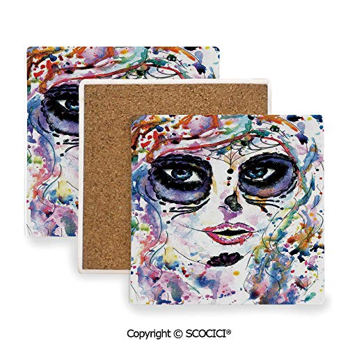 Ceramic Coaster With Cork Mat on the back side, Tabletop Protection for Any Table Type, Square coaster,Sugar Skull Decor,Halloween Girl with Sugar Skull Makeup,3.9