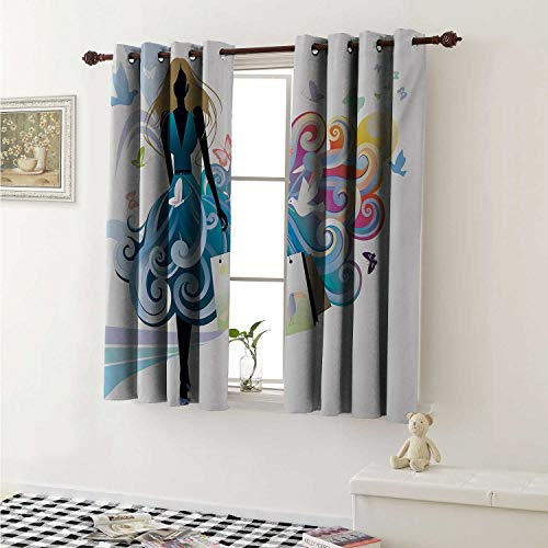 shenglv Contemporary Blackout Draperies for Bedroom Young Woman Silhouette with Shopping Bags Fantasy Skirt Butterflies Fashion Curtains Kitchen Valance W72 x L63 Inch ()