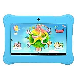 iRULU - Tablet para niños de 7 pulgadas, 1GB RAM, 8GB Nand Flash Quad Core, Resolución HD de 1024x600, Android 4.4 KitKat, Certificación GMS de Google, Color Azul con funda de silicona azul