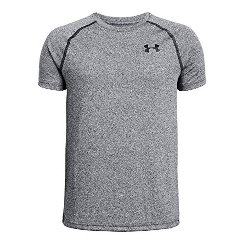 (Under Armour Tech Tee, Black Light Heather//Black, Youth Small)