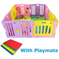 Mcc® Corralito de plástico para infantil para niños de plástico Box con 8 paneles, barrera protectora con compuerta – alfombras incluidas (Colore Rosa)