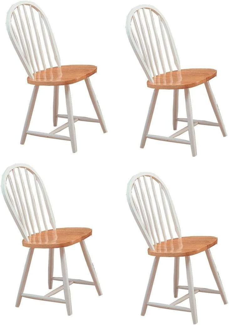 Hesperia Windsor Dining Side Chairs Natural Brown and White Set of 4