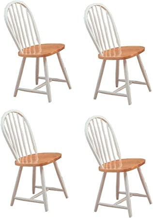 Amazon Com Hesperia Windsor Dining Side Chairs Natural Brown And White Set Of 4 Furniture Decor