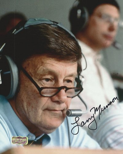 Larry Munson Autographed/Signed Georgia Bulldogs 8x10 Iconic NCAA Photo 'In The Booth' Radtke Sports