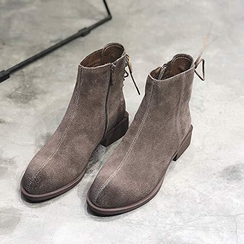 Shukun Stiefeletten PU Martin Stiefel weiblichen Herbst Matte Stiefel dick mit kurzen Stiefeln wild Kurze dünne Skinny Stiefel