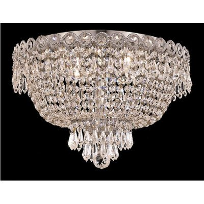 Elegant Lighting 1900F16C/EC Century Collection 4-Light Flush Mount Elegant Cut Crystal with Chrome Finish Century Collection Flush