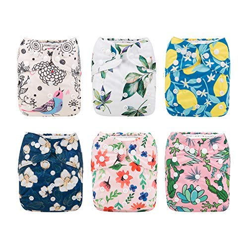 Babygoal Baby Cloth Diapers for Girls, Washable Reusable Pocket Nappy, 6pcs Diapers+6pcs Microfiber Inserts+4pcs Bamboo Inserts 6FG09 from babygoal