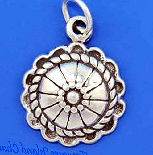 Lot of 1 Pc. Native American Concho .925 Solid Sterling Silver Charm Pendant Vintage Crafting Pendant Jewelry Making Supplies - DIY for Necklace Bracelet Accessories by CharmingSS
