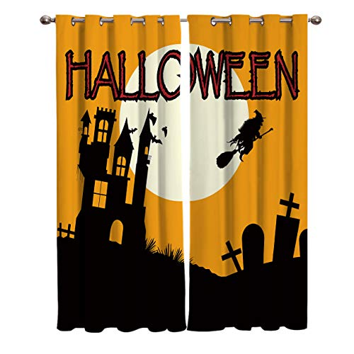 LAMANDA Blackout Curtains Halloween Castle Witch Bats Home Decorative Shading Curtain Window Treatments Thermal Insulated Grommets Darkening Drapes, 2 Panel Set]()