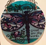 Dragonfly Great are Thy Works Stained Glass Suncatcher (SC302R)