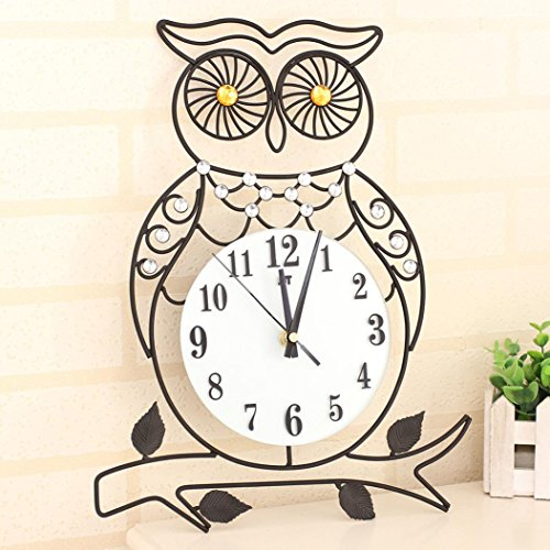 3D Metal Wall Clock Farmhouse Decor, Liu Nian Creative Owl Dazzling Silent Non Ticking Wall Clocks with Diamonds Large Decorative - Big Atomic Analog Battery Operated (Brown)