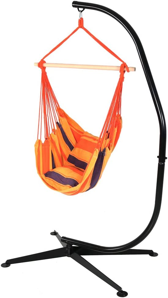 Sunnydaze Hanging Hammock Swing with Two Cushions and C-stand Combo - Summer Breeze - 264 lbs Weight Capacity