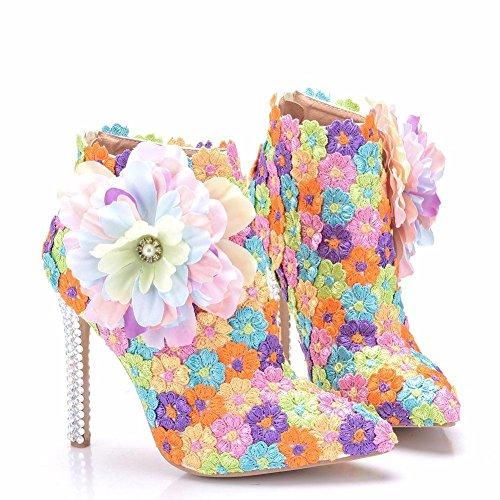 Mujer Señoras Soltero Tobillo Botas Boda Nupcial Zapatos Color Cordón Flor Vestir Fiesta Puntiagudo Alto Tacón Noche Primavera Otoño tamaño 35-41 Color