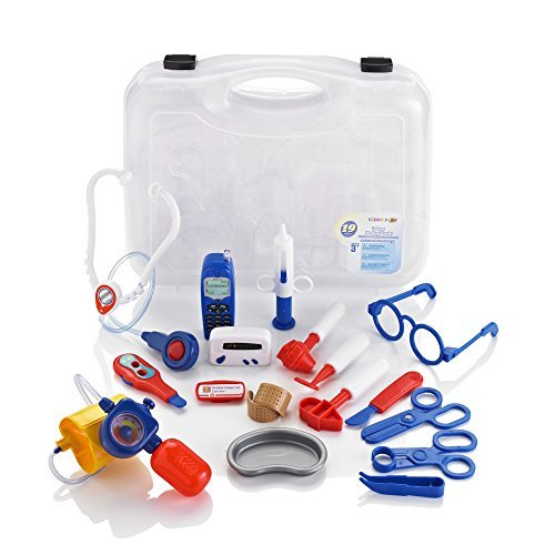Constructive Playthings 12'' L. x 13'' W. Doctor's Case with 17 Piece Set of Authentic Plastic Doctor's Gear Including Battery Operated Phone for Ages 3 Years and Up by Constructive Playthings