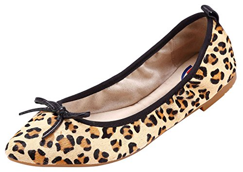 ABUSA Women's Leather/Suede Ballet Flat Foldable Pointed Toe Shoes Leopard Suede Size 7.5 -