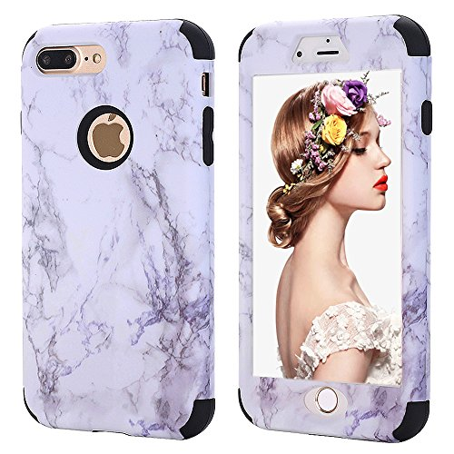 iPhone 7 plus Marble Case,iPhone 8 plus Case for Girls,Kudex Ultra Slim Clear White Marble Pattern Design Dual Layer Shockproof Anti-Scratch Hybrid High Impact Protective Case Cover for Women/ (Black)