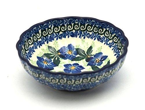 Polish Pottery Bowl - Shallow Scalloped - Small - Blue Pansy