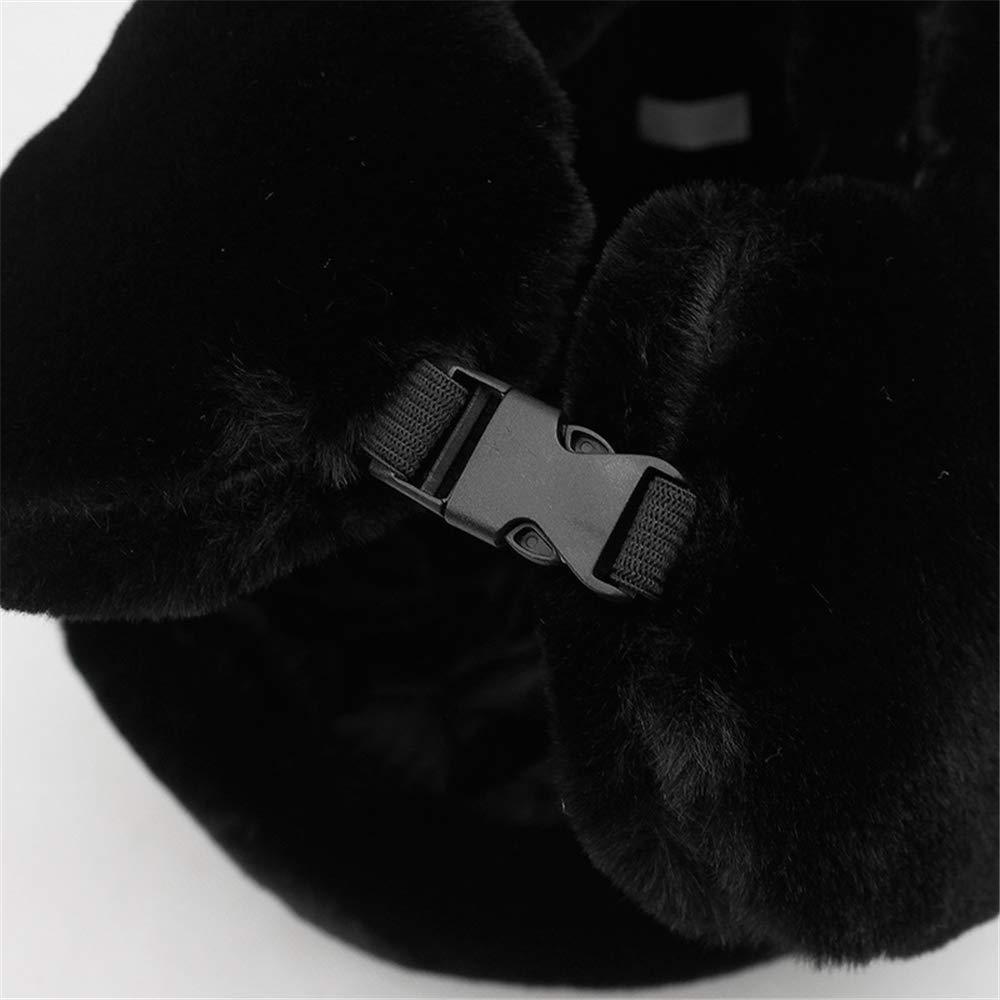 KAIJIN Chapeau De Bombe De Fourrure Pour Femme Russe Noir Catcher Cap Femme Hiver Chaud Ski Cache-Oreilles Dames Chapeau DHiver En Plein Air Chaud