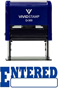 Entered Office Self-Inking Office Rubber Stamp (Blue) - Large