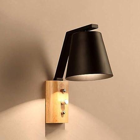 CKH Lámpara de Pared escandinava Moderna Minimalista Escalera de Dormitorio Escalera Dormitorio Lámparas de Pared LED de Madera (Color : Black): Amazon.es: Hogar