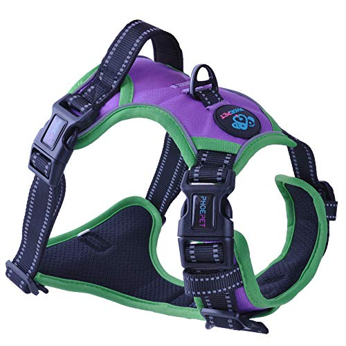 PHOEPET 2019 No Pull Dog Harness Medium 3M Reflective Front Clip Vest with Handle,Adjustable 2 Metal Rings 3 Buckles,[Easy to Put on & Take Off](M, Purple)
