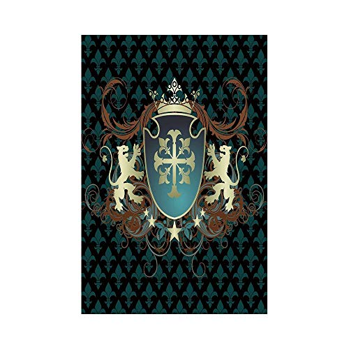 Polyester Garden Flag Outdoor Flag House Flag Banner,Medieval,Heraldic Design of a Middle Ages Coat of Arms Cross Crown Lions Swirls Decorative,Teal Black Cinnamon,for Wedding Anniversary Home Outdoor