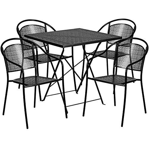 Flash Furniture 28'' Square Black Indoor-Outdoor Steel Foldi