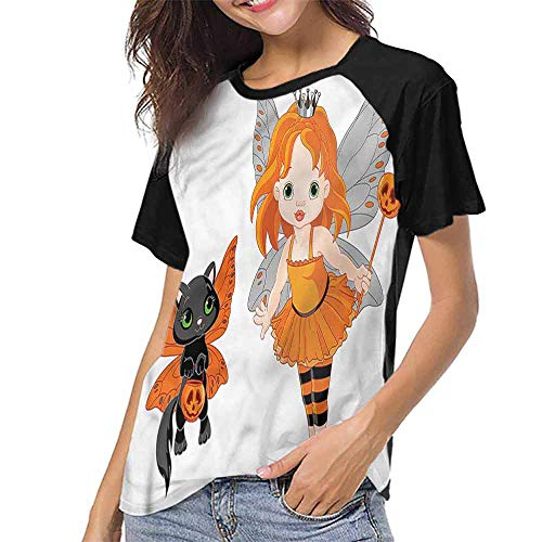 Graphic T-Shirt,Halloween,Baby Fairy and Her Cat S-XXL T Shirt Female Tight -