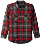 Pendleton Men's Quilted CPO in Wool Shirt Jacket, Black/Grey Mix/red Ombre, MD