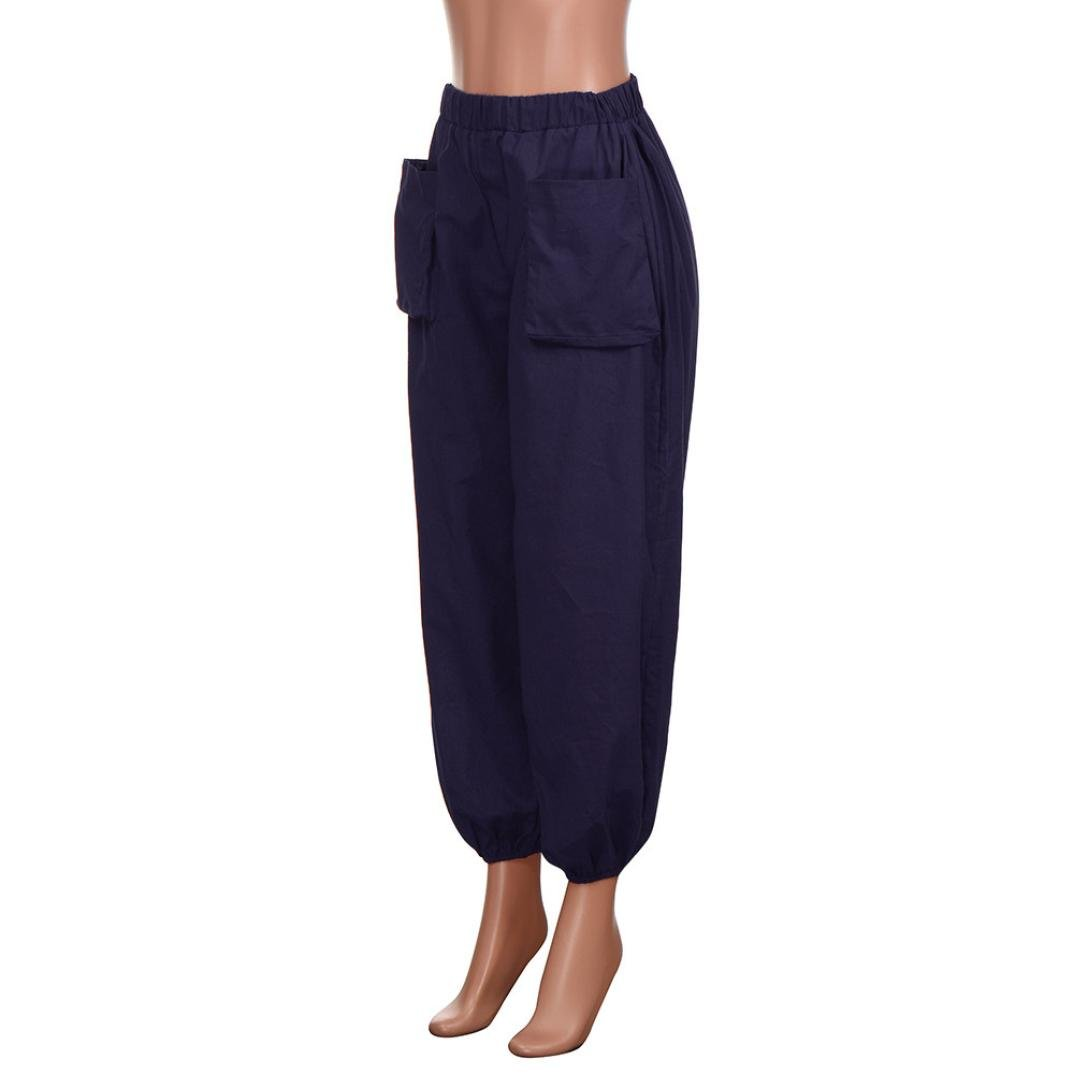 Damen Sommer Lässig Vintage Lose Elastische Taillen Bein Haremhosen Oversize Neu