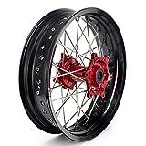 TARAZON 17 Supermoto Supermotard Rear Complete Wheel Kit Red Hub Rim Spokes for Honda CRF250R 2014-2017 CRF450R 2013 2014 2015 2016