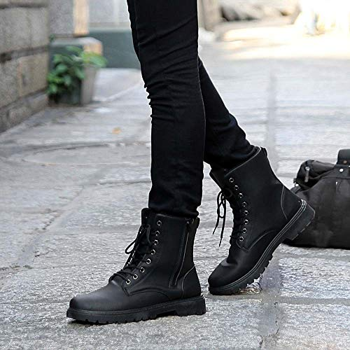 Fheaven Men's Leather Boots Lace Up Boots Mens Combat Boot Autumn Winter British Booties