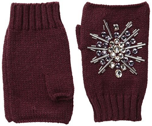 San Diego Hat Company Women's Fine Knit Fingerless Gloves with Hand Stitched Gems, Port, One Size