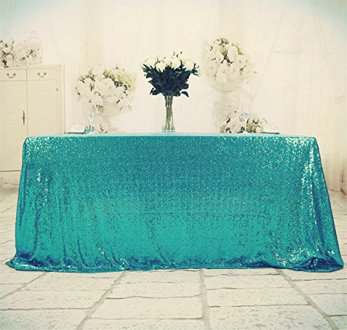 """B-SHINE Square Sequin Tablecloth, Sequin Table Linen (48""""x48"""", Turquoise)"""