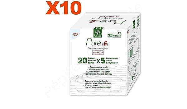 Compresas de gasa estéril 8 capas), 7,5 x 7,5 cm, lote 10 paquetes de 20 bolsas de 5 Compresas – pdm-sg8 – 0755 – 10 by Pépites del mundo: Amazon.es: Salud y cuidado personal