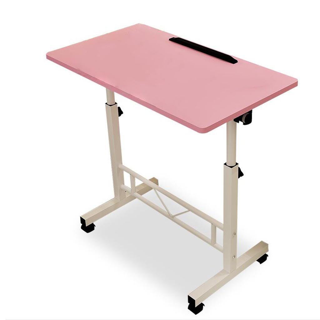 XW 折りたたみテーブル デスクトップデスクの家庭の単純な車輪付きのモバイルコンピュータのデスク調節可能な高さの怠惰なテーブル (色 : Pink) B07F5WLWZY Pink Pink