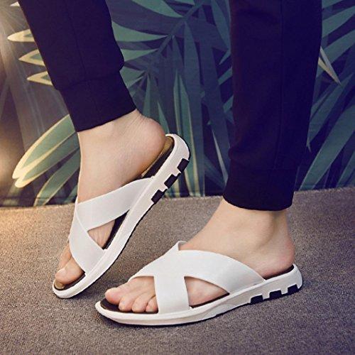 Inkach Mens Sandales Dété - Pantoufles De Bain De Mode Sandales Plates Tongs Chaussures De Plage Blanc
