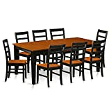 East West Furniture QUPF9-BCH-W 9 Piece Dining Table with 8 Wooden Chairs Set For Sale