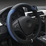 Genbitty New Blue Four Seasons Universal Anti-skid Leather Superfine Fiber Car Steering Wheel (15 inches)
