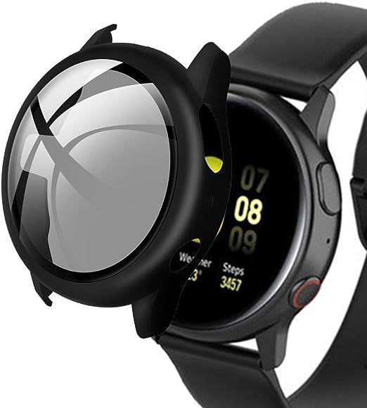KTcpt Coque rigide compatible avec Samsung Galaxy Watch Active 2 Film de protection d'écran 40 mm Noir