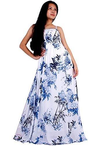 MayriDress Women Black Summer Dress Maxi Plus Size Graduation Chiffon Gift Long (X-Large, White/ Blue Floral)
